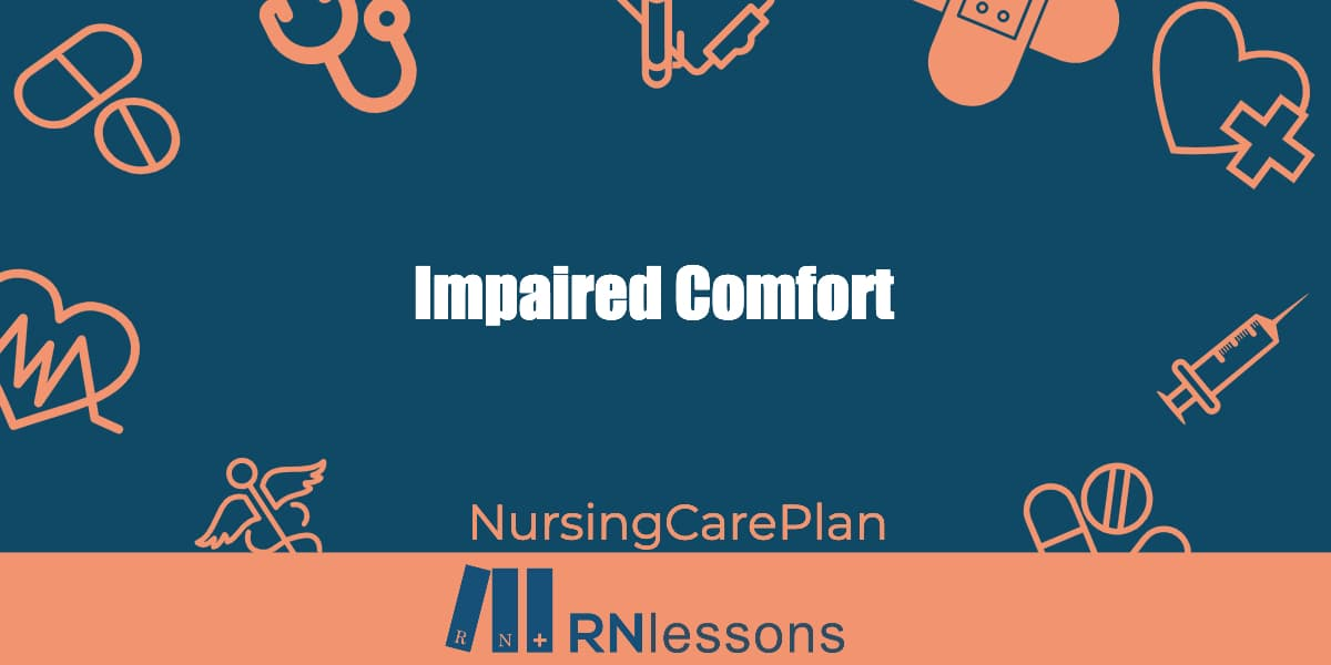 The words impaired comfort surrounded by healthcare-related vector images