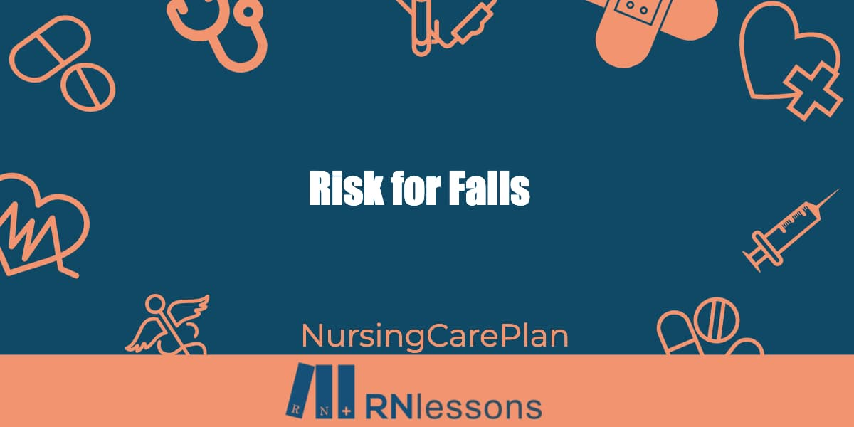 The words risk for falls surrounded by health care related vector images