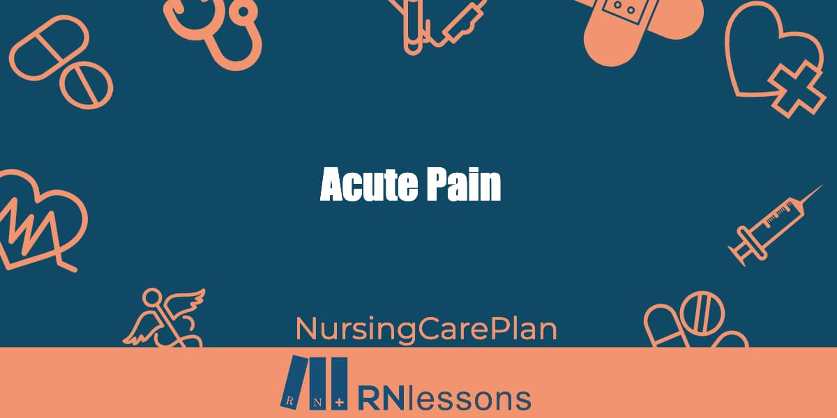 The words acute pain surrounded by healthcare-related vector images