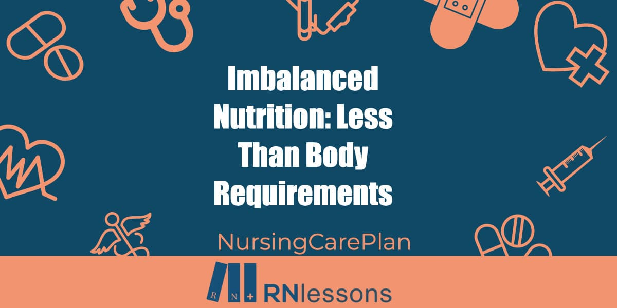 The words imbalanced nutrition surrounded by healthcare-related vector images