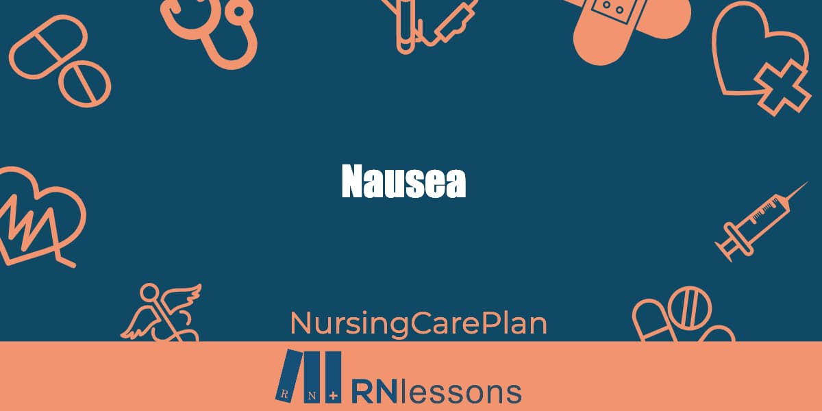 The words nausea surrounded by healthcare-related vector images